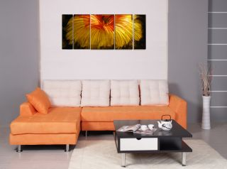 Metal Wall Art 56 x 24 Modern Orange Red Flower Colored Sculpture
