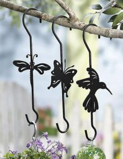 Set 3 Metal Plant Flower Hangers Garden Yard Decor New A3902