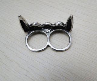 Retro Punk Vampire Fangs Teeth Double Finger Ring JR133 on Sale