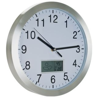 Station Indoor Temperature Humidity Meter Analog Wall Clock New