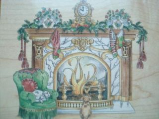 CHRISTMAS FIREPLACE MANTLE W CAT DOG by STAMPS HAPPEN rubber stamp