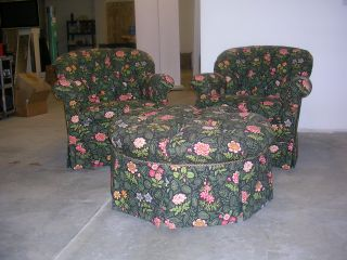 Two Arm Easy Chairs Ottoman Foot Stool Century Furniture Floral Fabric