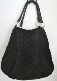 New Large Quilted Black Velvet Tote Travel Overnight Bag Handbag