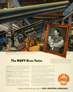 1943 Ad Shell Industrial Lubricants WWII War Production Twin Gun