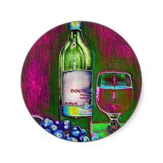 Modern art of wine & grapes round sticker