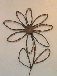 Metal Wall Decor Rustic Western Rusty Barbed Wire Sunflower