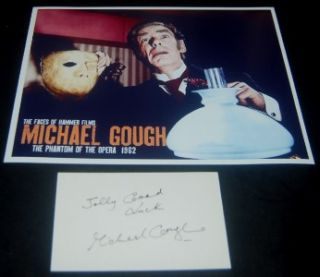 Michael Gough Signed Card and Great Hammer Horror Phantom of The