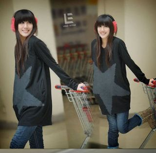 Quality Leisure and Loose Style Long T Shirt with Large Five Pointed