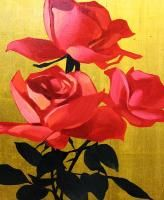 Michael Huggins Red Roses Original Oil Gold Leaf Painting Artwork