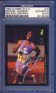 1992 Classic Michael Johnson 15 Signed Card PSA DNA