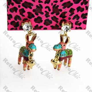 Mexican Pinata Betsey Johnson Donkey Earrings Crystal Stud Kitsch