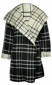 Sutton Studio Womens Plaid Reversible Cape Jacket Black White Assorted