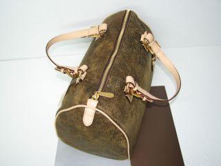 Michael Kors Grayson Mocha Distressed Golden Hardware Box Bag Satchel