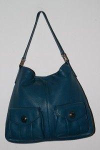 Michael Kors Blue Leather Double Pockets Shoulder Bag