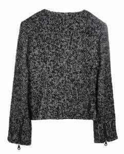 Sutton Studio Womens Black White 8 Tweed Zipper Jacket Wool Blend