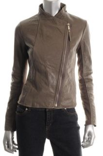 Michael Kors New Taupe Leather Knit Trim Asymmetric Zip Motorcycle