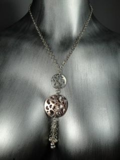 New Sterling Silver Italy Chain Necklace Heart Circle Discs Cutout