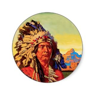Vintage design of an American Indian chief in full war bonnet