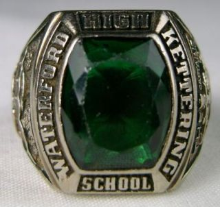 13g Vintage 10K Balfour White Gold Class Ring 1968 High School Green
