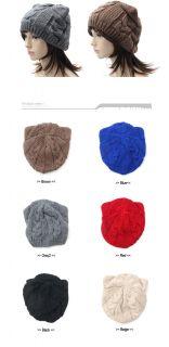 New Cute Miau Ear Twist Knit Beanie Toque Hat Ski Cap Skull Warm