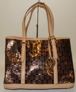 Michael Kors Grayson Monogram Mirror Large Bronze Cocoa Metallic Tote