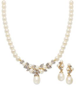 14k Gold Jewelry Set, Cultured Freshwater Pearl and Diamond Necklace