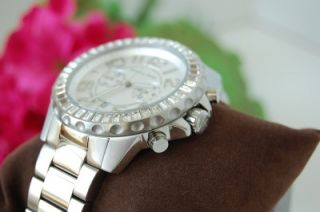 NIB Michael Kors Silver ROX Crystal Accent Womens SS Oversized Watch