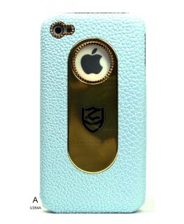Chrome Brushed Metal Decal Shield Pearl Leather Cover Case for iPhone