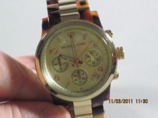 Michael Kors MK 5138 Womens Stainless Steel Tortoise Gold Chronograph