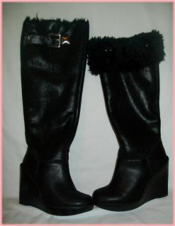 Michael Kors Calista Black Wedge Knee Boots Silver Sheen Sz 6 9
