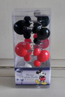 Disney Mickey Mouse Black Cotton FABRIC Shower Curtain & 12 Head Hooks