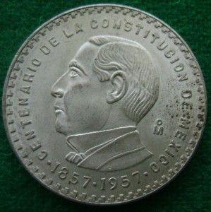 1957 Juarez 5 Pesos Mexican Silver Coin Centennial AU