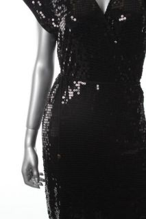 Michael Kors Black Sequined Sleeveless Wrap Cocktail Evening Dress