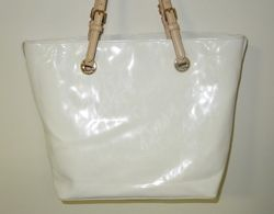Michael Kors White Patent Leather Tote Bag Purse