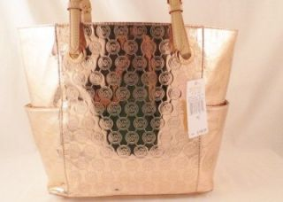 Michael Kors Jet Set E w Monogram Mirror Metallic Rose Gold Tote $198