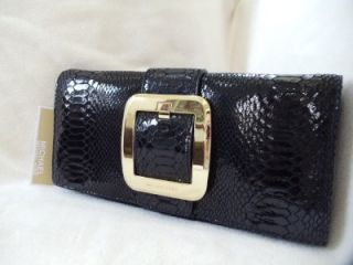 Auth MICHAEL KORS ~ SUTTON CLUTCH BAG ~ GENUINE LEATHER, Black, NWT $