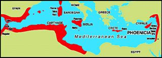 Phoenician colonies (in red).