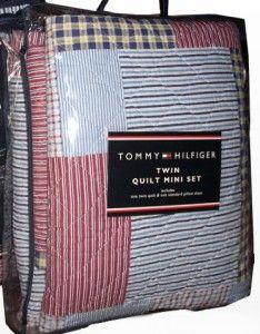 Tommy Hilfiger Middlebury Red White Blue Plaid Cotton Quilt Sham Set