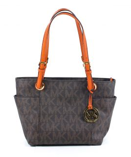 Michael Kors Jet Set Brown Tangerine Signature PVC Tote Shoulder Bag