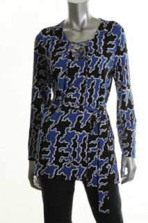 Michael Kors New Blue Matte Jersey Lace Up Belted Tunic Top Shirt L