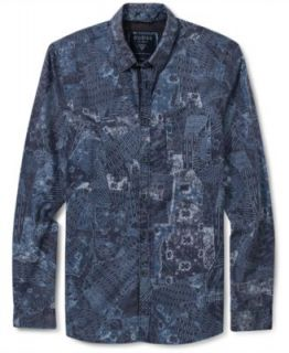 Guess Jeans Shirt, Forest Print Long Sleeve Shirt   Mens Casual Shirts