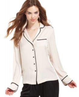 RACHEL Rachel Roy Long Sleeve V Neck Printed Pajama Shirt & Printed