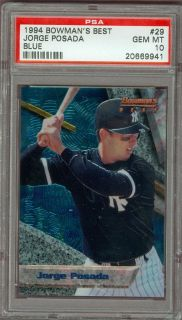 1994 Bowmans Best Jorge Posada 29 PSA 10 Rookie Yankees Blue