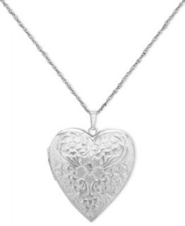 Sterling Silver Necklace, Diamond Cut Heart Locket   Necklaces