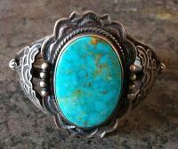 Native Navajo Old Pawn Sterling Silver Kingman Birds Eye Turquoise