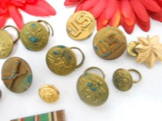 Vintage United States Gold Tone Military Awards Button Lot C351