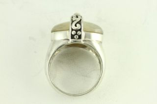 Custom Sterling Silver Jewelry Ring Vintage Mother of Pearl Cab Size 8