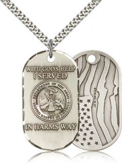 Silver US Army American Flag Dog Tag Pendant Necklace