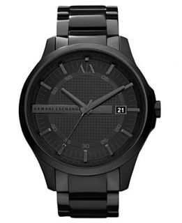 Armani Exchange Watch, Mens Black Ion Plated Stainless Steel
