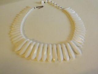 Egyptian Revival Bib Choker Necklace Milk Glass Signed Lot